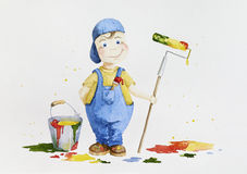 Barnmålare som gör vuxet arbete med en rulle och en målarpensel Fotografering för Bildbyråer