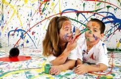 barnmålarfärg Royaltyfri Bild