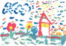 barnmålarfärgvattenfärg Arkivfoto