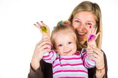 Barnmålning med fingrar Royaltyfri Bild
