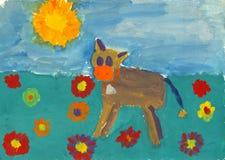 barnmålning s Fotografering för Bildbyråer