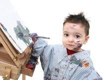barnmålning för 04 pojke Royaltyfri Foto