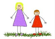 barnmom royaltyfri illustrationer