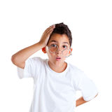 Barnnerdunge med exponeringsglas Arkivbild