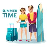Barnpar som går på en sommartur stock illustrationer