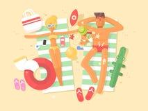 Barnpar som vilar på stranden Royaltyfri Illustrationer