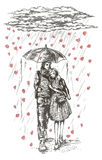 Barnpar under paraplyet i regnet Royaltyfri Illustrationer