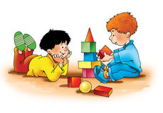 Barnpojkar som spelar tärningutbildning Arkivfoton