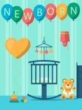 Barnrum för det nyfött behandla som ett barn vektor illustrationer