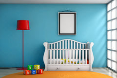 Barnrum med den säng-, lamp- och mellanrumsfotoramen Arkivbild