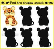 Barns behandla som ett barn framkallande lek som finner en djur gyckel för lämplig skugga, Jaguar vektor vektor illustrationer