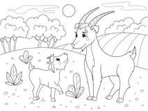 Barns bok för tecknad filmfärgläggning En familj av getter i en äng vektor illustrationer