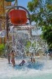 Barns dragningstrumman i vattnet parkerar Arkivfoton