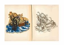 Barns färgläggningbok - jätte- bläckfisk stock illustrationer