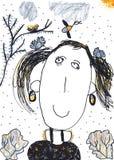 Barns färgpennateckning av en flicka Arkivbild