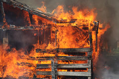 Barns on fire Stock Image