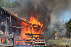Barns on fire Stock Photography