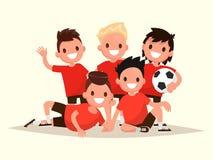 Barns fotbollslag Stående av unga fotbollspelare Vect Arkivfoton