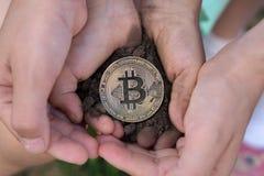 Barns händer rymmer Bitcoin i jordningen Stigning upp bitcoin royaltyfri bild