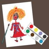 Barns hand som drar Princess.Doodle-målningar stock illustrationer