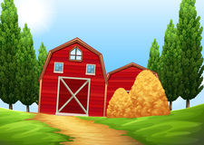 Barns and haystack in the farmland Stock Photos