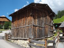 Barns and huts of the Dolomites, Val Badia, Sud Tirol, Italy. Summer time stock images