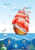 Barns illustration av en segelbåt med rött seglar och den undervattens- världen Royaltyfria Bilder