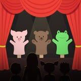 Barns kapacitet för dockateater med illustrationen för vektor för djurskådespelare- och ungeåhörare vektor illustrationer