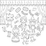 Barns kapacitet i teatern Dagismusikal Spela för skolaungar Etapp entertaiment, bio little stock illustrationer