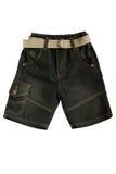 Barns kläder - jeankortslutningar Arkivfoto