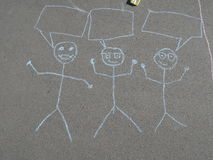 Barns kritateckning på asfalt Royaltyfri Fotografi