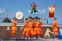 Barns kung fushow Arkivbild