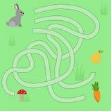 Barns labyrint med djur ?lsklingvektorillustration fotografering för bildbyråer