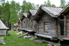 Barns of the Lapps in Arvidsjaur (Sweden). In Arvidsjaur in Sweden you can find the Lappstaden, about seventy wooden barns from the 18th century. The (forest) royalty free stock images