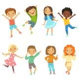 barns leka Rolig teckenisolat för vektor på vit royaltyfri illustrationer