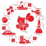 Barns leksaker: bil björn, skepp, helikopter, raket, formgivare, boll, pussel, kuber, gåva, ballonger Design f?r affisch eller tr vektor illustrationer
