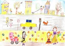 Barns lycklig familj för teckning, väg, bil Royaltyfri Foto