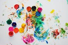 Barns målarfärger för teckningsfinger Royaltyfri Bild
