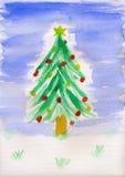 Barns målning - julgran Royaltyfria Bilder