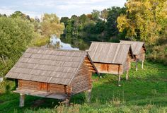 Barns on stilts in Suzdal, Russia Stock Photos