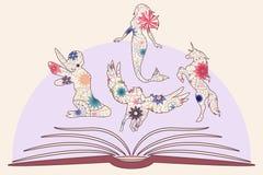 Barns tappning för bok stock illustrationer