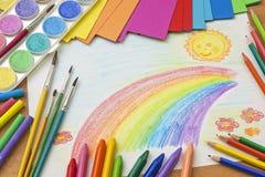 Barns teckning Royaltyfria Foton