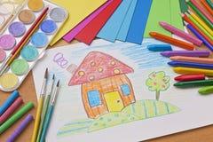 Barns teckning royaltyfri foto