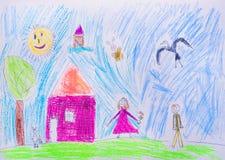 Barns teckning Royaltyfri Illustrationer