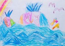 Barns teckning Fotografering för Bildbyråer