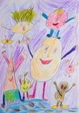 Barns teckning Stock Illustrationer