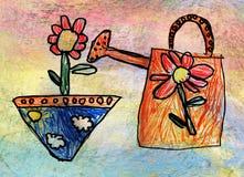 Barns teckning av bevattna-kan med blomman Royaltyfri Fotografi