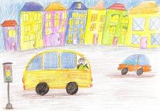 Barns teckning av bussen Royaltyfria Bilder