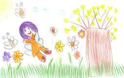Barns teckning av bussen Royaltyfri Bild