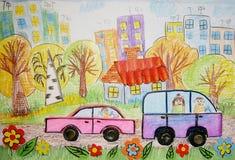 Barns teckning av bussen och bilen Arkivbilder